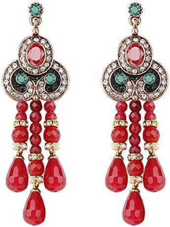 Rojo piedra natural borla borla pendientes para las mujeres oro antiguo negro esmalte cristal gota pendientes étnicos Vintage joyería de boda joyería