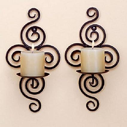 Scrolled Iron Wall Sconce Ornate Votive Pillar Candle Holder Hanging Decor 2 Set