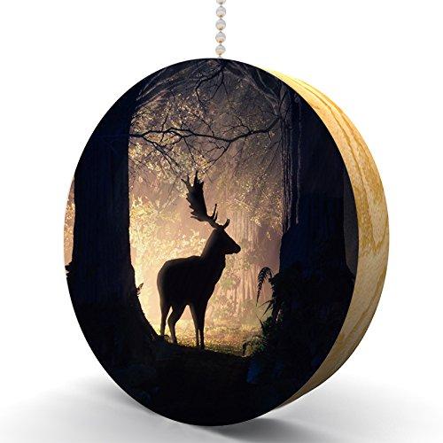 Firelight Forest Deer Hardwood Oak Fan / Light