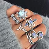 New Joint Ring Creative Retro Sunflower Inlaid Opal Ring Set 6-piece Set, Sterling Silver Sunflower Ring
