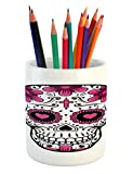 Ambesonne Sugar Skull Pencil Pen Holder, Flowers and Hearts Swirls Cruciform Gothic Cultural Celebration Day, Printed Ceramic Pencil Pen Holder for Desk Office Accessory, Hot Pink Black White