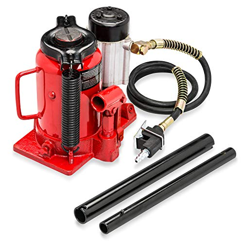 Ton Hydraulic Bottle Jack Press - Tooluxe 31010L Low Profile Air Hydraulic Manual Bottle Jack, 20 Tons