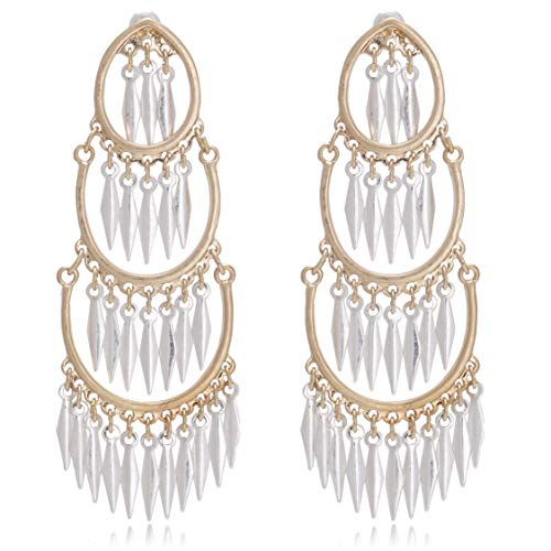 Vintage Two Tone Chandelier Metal Tassel Statement Earrings for ()
