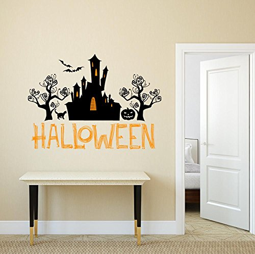 BIBITIME Sayings Art Quotes Halloween Wizard Castle Vinyl Sticker Black Tree Cat Bats Pumpkin Wall Decal for Living Room Porch Sofa Background Decorations DIY Home Mural PVC ()