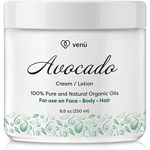 Avocado Oil Cream Lotion – All Natural Essential Oils Cleanser For Skin, Hair and Body - Hydrating and Softening Acne, Blackhead and Eczema Treatment – by Venu (Hair Cleanser Moisturizing Natural)