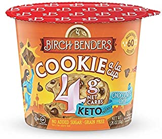 product image for Chocolate Chip Cookie Cups by Birch Benders, Grain-Free, Gluten-Free, Keto friendly, only 4 Net Carbs, Just Add Water (8 Single Serve Cups)