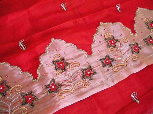 Pair of Red Decorative Handmade Indian Paisley Tab Top Organza Sheer Window Curtain Panels ~ 90 Inch X 40 Inch
