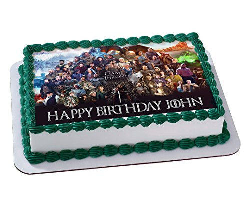 GOT Game Of Thrones Quarter Sheet Edible Photo Birthday Cake Topper Personalized 1 4