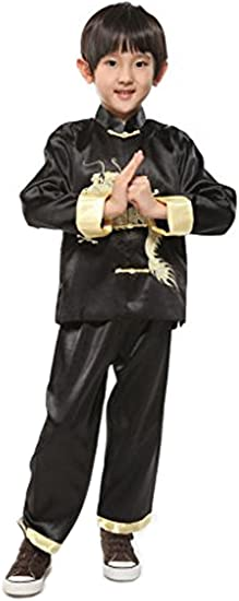 CHN Elements.clothing.kids Chinese Boys Martial Arts Outfits Embroidered Dragon-Black