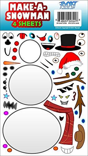 Make-A-Snowman Creative Winter Holiday Christmas Sticker Sheets by Rycast, for Children, Kids, Parents, Teachers, School, Crafts, Calendars, Planners, Scrapbooks, Gifts -