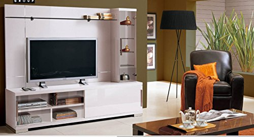 ESF ALF Capri High Gloss White Lacquer Wall Unit Entertainment Center Made in Italy ()
