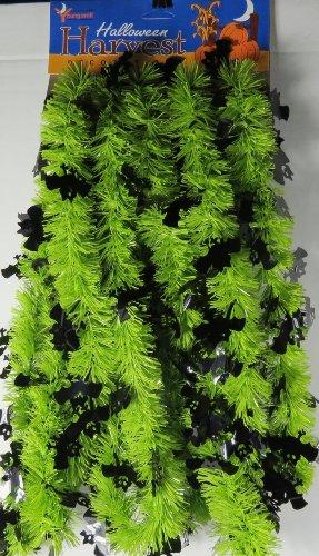 Halloween Green Garland with Black Bats-15 Feet -