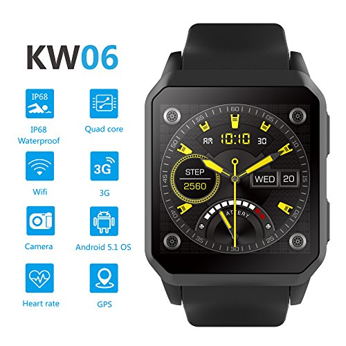 Amazon.com: Smart Touch KW06 Smart Watch w/Built-in Camera (Android 5.1) Bluetooth Fitness Tracker, Heart Rate & Sleep Monitor, Pedometer | IP68 Waterproof, ...