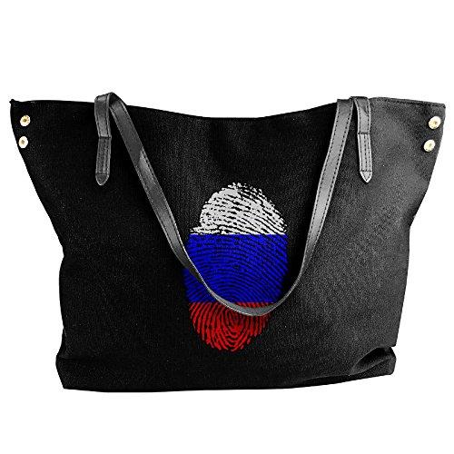 Messenger Fingerprint Handbag Tote Russia Canvas Bags Large Flag Black Shoulder Women's wqR48n0n