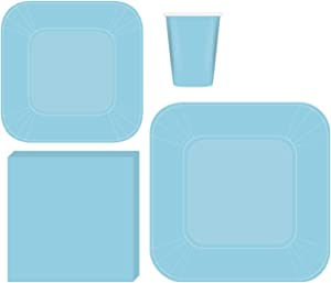 Serves 50 | Complete Party Pack | Light Blue Square Plates | 9