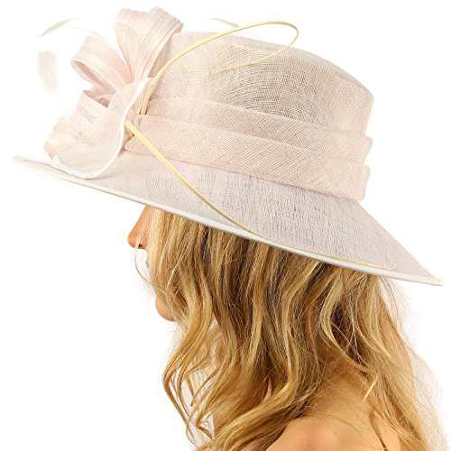 SK Hat shop British Regal Sinamy Ribbon Feathers Quill Derby Floppy Bucket Dressy Hat