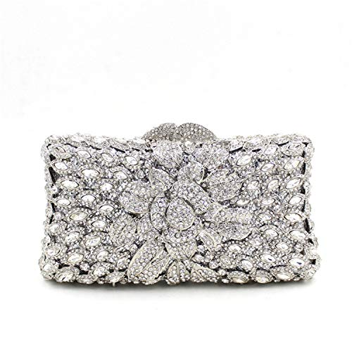 Bridal Evening Crystal Silver Clutch Prom Wedding Women Pearl Bag Fashion Purse xRq4ZTYw