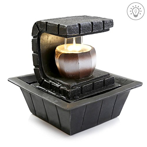 SereneLife 2-Tier Water Fountain Decoration - Cool Indoor Outdoor Portable Electric Tabletop Decorative Zen Meditation Waterfall Decor Kit w/LED, Submersible Pump, and Adapter - SLTWF35LED by SereneLife