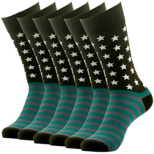 Fun Dress Casual Mid Calf Socks, SUTTOS Men's Fashion American Flag Patterned Cotton Socks Valentines Day Business Gift Socks Men Suit Socks Fashion 6 Pairs Coffee - Business Usa Days