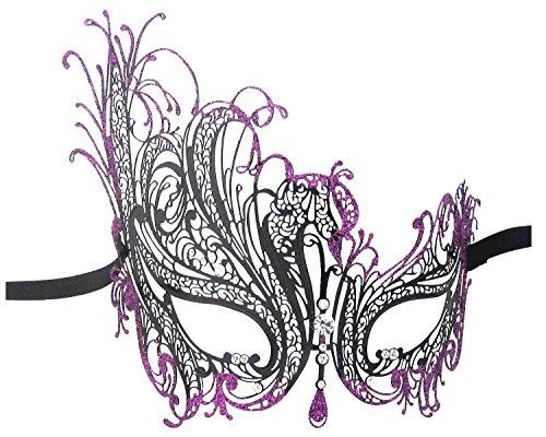 Filigree Metal Laser Cut Masquerade Venetian Party Mask (Black - Purple Glitter) (Couple Themed Halloween Costumes)