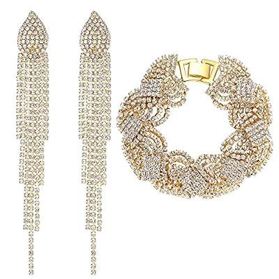 mecresh Silver/Gold Wedding Long Austrial Crystal Tassel Earring and Twist Bracelet Jewelry Sets