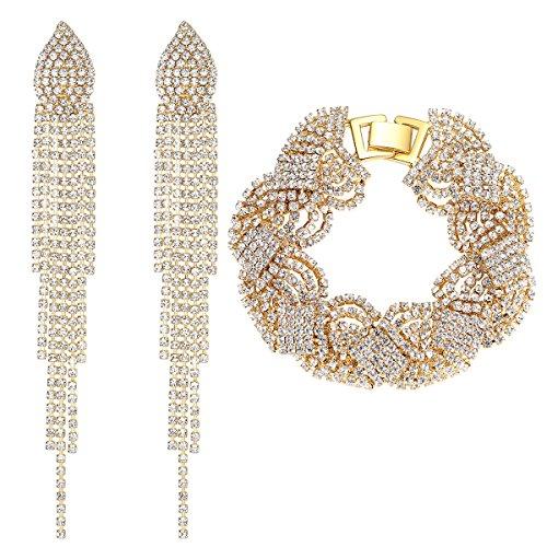 mecresh Gold Wedding Long Austrial Crystal Tassel Earring and Twist Bracelet Jewelry (Costume Bridesmaid Jewelry Sets)