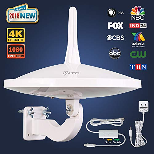 ANTOP New Generation Outdoor TV Antenna 720° Dual-Omni Reception UFO Clean Design 65 Miles, Exclusive Smartpass Amplifier Delivers the Correct Range, Fit Indoor/Outdoor/RV/Attic Use for VHF/UHF