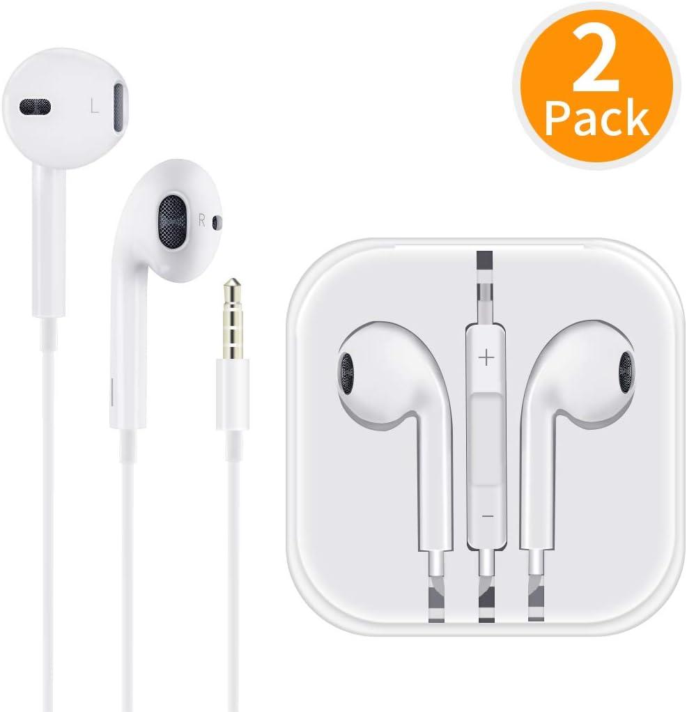 /Écouteurs avec Micro et Microphone Contr/ôle du Volume St/ér/éo Isolation du Son pour iPhone 6s// 6//5// iPod//iPad//Android// MP3 Deux Packs