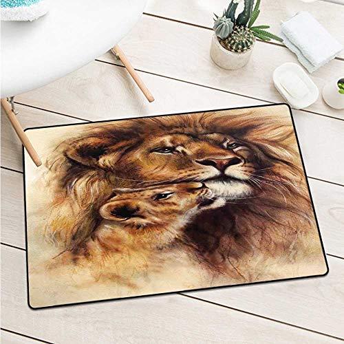 Custom&blanket Safari Front Door Mat Carpet Painting of Loving Lion and Her Baby Cub Snuggle Wildlife Nature Safari Theme Machine Washable Door Mat (W19.7 X L31.5 inch,Caramel Beige)
