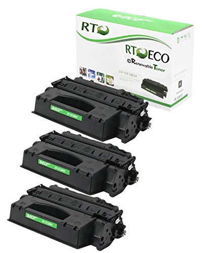 Renewable Toner 80X Compatible Toner Cartridge Replacement HP CF280X for HP LaserJet Pro 400 Series (3-Pack)