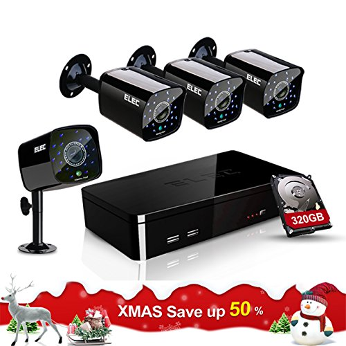 ELEC 4 HDMI CCTV 1500TVL 1.0MP Bullet Cameras 960H 8 Channel Security Camera System with 320GB Hard Drive (Channel Dvr 4 320)