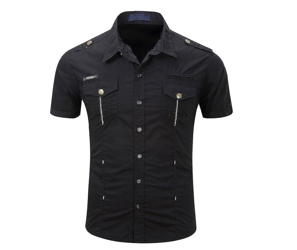 WSLCN - Camisa Casual - Básico - Clásico - Manga Corta - para Hombre