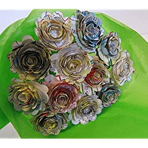 Scalloped Old Gas Station Road Map Roses on Stems, 1.5 Inch Rosettes, Paper Flowers Bouquet, One Dozen, Recycled Art, Travel Theme Bridal Shower Decoration, Birthday Party Decor 106