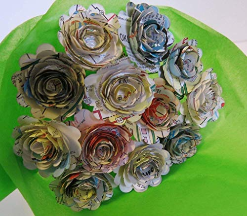 (Scalloped Old Gas Station Road Map Roses on Stems, 1.5 Inch Rosettes, Paper Flowers Bouquet, One Dozen, Recycled Art, Travel Theme Bridal Shower Decoration, Birthday Party Decor)