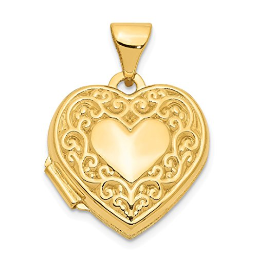 - 14k Yellow Gold Scroll Heart Photo Pendant Charm Locket Chain Necklace That Holds Pictures Fine Jewelry For Women Gift Set