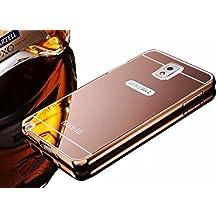 Samsung Galaxy Note 3 N9000 N9005 Bling Mirror Case,Vandot Premium Fashion Ultra Slim Thin Metal Aluminum Bumper Frame Hard Back Cover Pattern [Scratch-resistant] [Shockproof] Protection-Rose Gold
