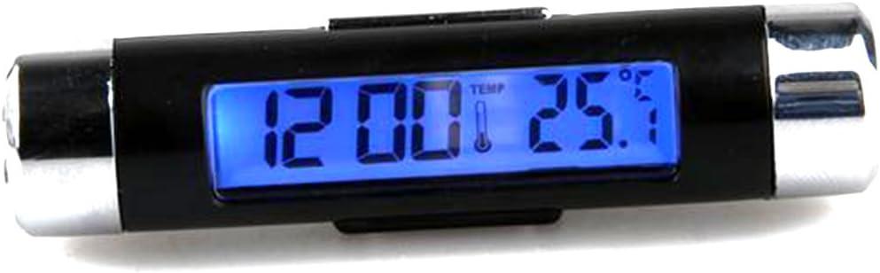 Lovelifeast Kfz Digitaluhr Mit Thermometer Lcd Display Mit Hintergrundbeleuchtung Klein Und Kompakt Fassförmig Mit Befestigungsclip Auto