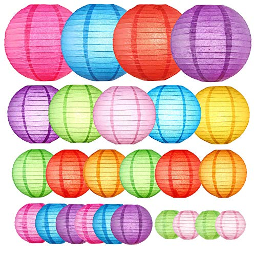 Fiesta Party Supplies Rainbow Party decorations, Hanging Paper lanterns decorative - Themed Birthday Party Decor Baby Shower Decor Bridal Shower Decor Classroom Ceiling Decor Wedding Party Decorations