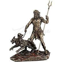 Hades Holding Staff With Cerberus Statue