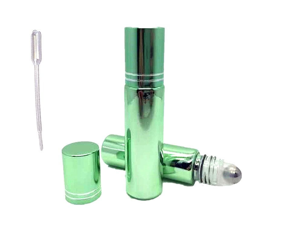 6 Empty Glass 10ml Roll on Perfume Refillable Bottles and Essential Oil Roller Ball Bottles Metal Roller with 2 Free 1ml. Droppers for Easy Filling