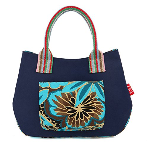 Fortuning's JDS® La novedad del color del contraste de moda lienzo impreso floral del bolso del totalizador azul oscuro
