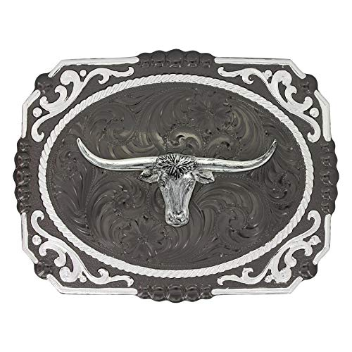 (Montana Silversmiths Gunmetal Cameo Filigree with Longhorn Steer Buckle)