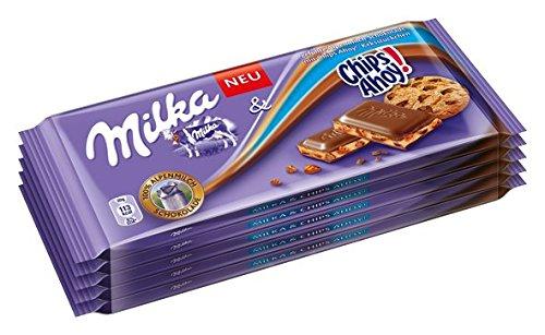 Milka chips Ahoy Edición, pizarra Chocolate con galletas Parcela, 100 g, 10 unidades