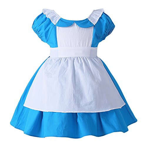 IBTOM CASTLE Little Girls Wonderland Princess Alice Dress Up Cotton Halloween Costumes Child Fancy Ball Gown Cosplay Tutus Alice Blue 4-5 Years -