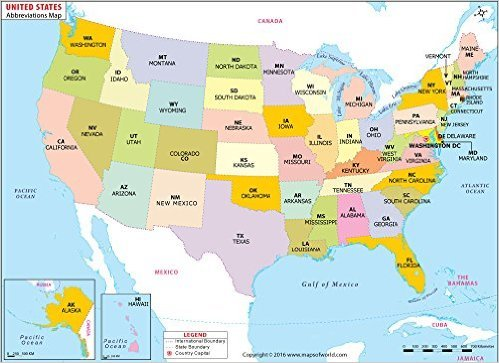 Amazoncom US States Abbreviations Map W X H - Map of the united states with abbreviations