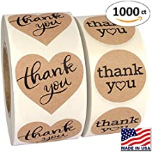 """1000 Pack, Heart Love Shape Kraft Paper Thank you Adhesive Label, Complete Bundle, 1.5"""" Heart Shaped Stickers & 1.25"""" Round Adhesive Labels"""
