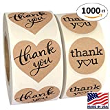 "package stickers - 1000 Pack, Heart Love Shape Kraft Paper Thank you Adhesive Label, Complete Bundle, 1.5"" Heart Shaped Stickers & 1.25"