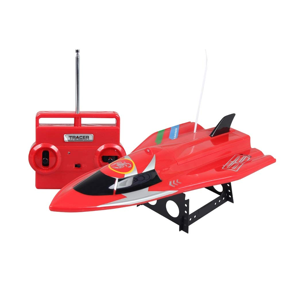 CLCYL RC Stiefel/Kinder es Fernbedienung Spielzeug, 40cm Upgraded OverGrößed Hull 40MHZ Fernbedienung Built-In 700mah Batterie Doppelpropeller High Power Safety Material Rot/Blau