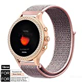 YOOSIDE Watch Band for Fossil Q Venture,18mm Quick Release Soft Breathable Nylon Loop Sport Watch Band Strap for Fossil Q Gen 3 Venture,Gen4 Venture/Venture HR,Ticwatch C2 Rose Gold (Pink)