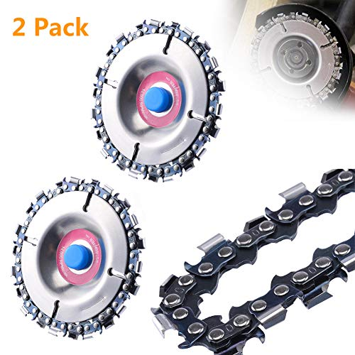 Grinder Chain Disc Tooth Fine Cut Chain Carver Angular Grinder Chainsaw Attachment Disk Wheel for Grinder (2 Pack)